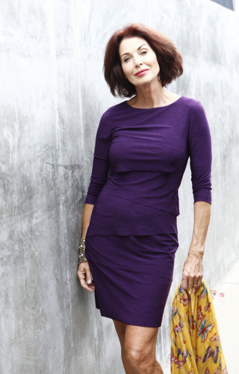 Lorelei Purple Dress 3 quarter grey wall