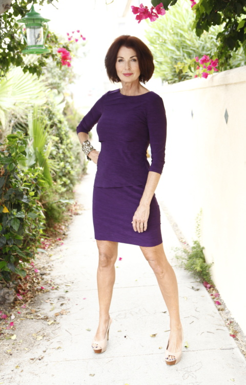 Lorelei Purple Dress Body shot full length trees and bougainvillea